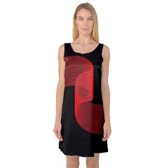 Tape Strip Red Black Amoled Wave Waves Chevron Sleeveless Satin Nightdress by Mariart