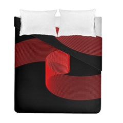 Tape Strip Red Black Amoled Wave Waves Chevron Duvet Cover Double Side (full/ Double Size) by Mariart
