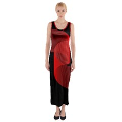 Tape Strip Red Black Amoled Wave Waves Chevron Fitted Maxi Dress by Mariart