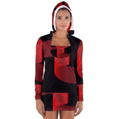 Tape Strip Red Black Amoled Wave Waves Chevron Women s Long Sleeve Hooded T-shirt by Mariart