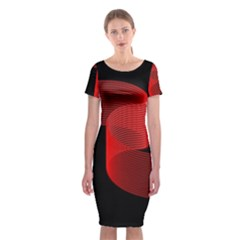Tape Strip Red Black Amoled Wave Waves Chevron Classic Short Sleeve Midi Dress by Mariart
