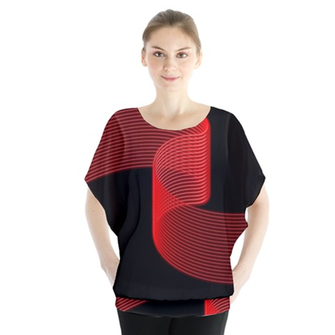 Tape Strip Red Black Amoled Wave Waves Chevron Blouse by Mariart