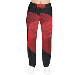 Tape Strip Red Black Amoled Wave Waves Chevron Drawstring Pants by Mariart