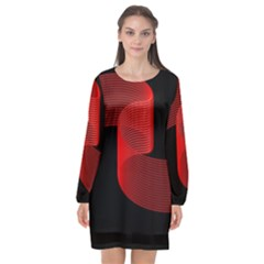 Tape Strip Red Black Amoled Wave Waves Chevron Long Sleeve Chiffon Shift Dress  by Mariart