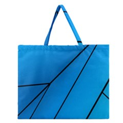Technical Line Blue Black Zipper Large Tote Bag by Mariart