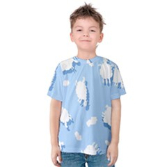 Vector Sheep Clouds Background Kids  Cotton Tee