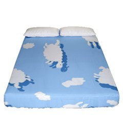 Vector Sheep Clouds Background Fitted Sheet (queen Size) by Nexatart