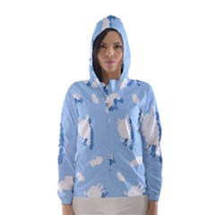Vector Sheep Clouds Background Hooded Wind Breaker (women)