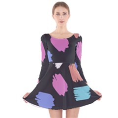 Many Colors Pattern Seamless Long Sleeve Velvet Skater Dress