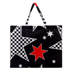 Stars Seamless Pattern Background Zipper Large Tote Bag by Nexatart