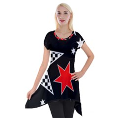Stars Seamless Pattern Background Short Sleeve Side Drop Tunic