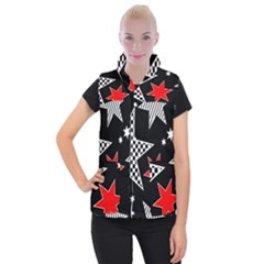 Stars Seamless Pattern Background Women s Button Up Puffer Vest