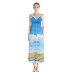 Grid Sky Course Texture Sun Chiffon Maxi Dress