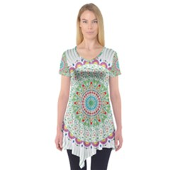 Flower Abstract Floral Short Sleeve Tunic