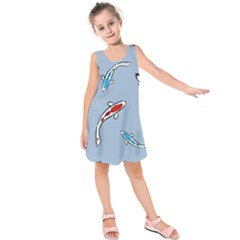 Koi Carp East Vector Seamless Kids  Sleeveless Dress by Nexatart