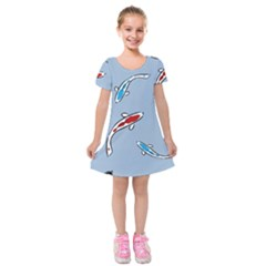 Koi Carp East Vector Seamless Kids  Short Sleeve Velvet Dress