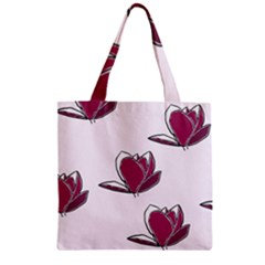 Magnolia Seamless Pattern Flower Zipper Grocery Tote Bag
