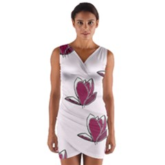 Magnolia Seamless Pattern Flower Wrap Front Bodycon Dress
