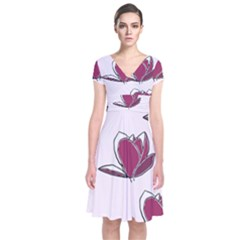 Magnolia Seamless Pattern Flower Short Sleeve Front Wrap Dress