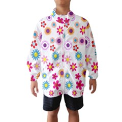 Floral Flowers Background Pattern Wind Breaker (kids)