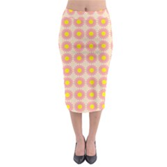 Pattern Flower Background Wallpaper Midi Pencil Skirt