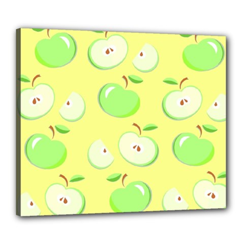 Apples Apple Pattern Vector Green Canvas 24  X 20  by Nexatart