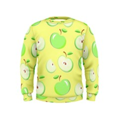 Apples Apple Pattern Vector Green Kids  Sweatshirt