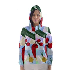 Vegetables Cucumber Tomato Hooded Wind Breaker (women)