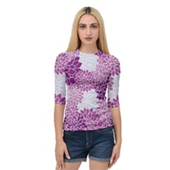 Floral Wallpaper Flowers Dahlia Quarter Sleeve Tee by Nexatart