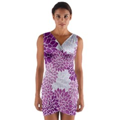 Floral Wallpaper Flowers Dahlia Wrap Front Bodycon Dress