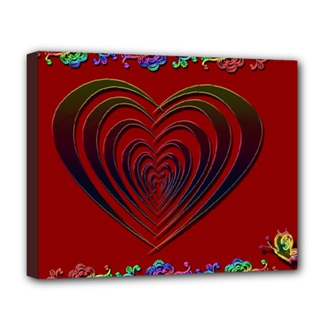 Red Heart Colorful Love Shape Deluxe Canvas 20  X 16   by Nexatart