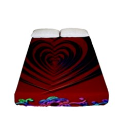 Red Heart Colorful Love Shape Fitted Sheet (full/ Double Size) by Nexatart