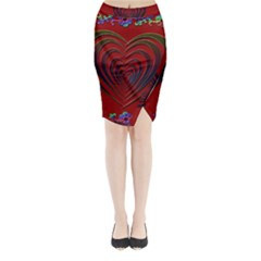 Red Heart Colorful Love Shape Midi Wrap Pencil Skirt by Nexatart