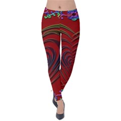 Red Heart Colorful Love Shape Velvet Leggings