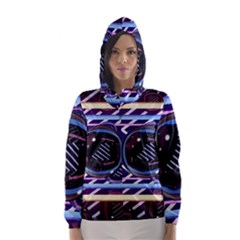 Abstract Sphere Room 3d Design Hooded Wind Breaker (women)