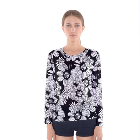 Mandala Calming Coloring Page Women s Long Sleeve Tee by Nexatart