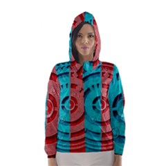 Vector Watch Texture Red Blue Hooded Wind Breaker (women)