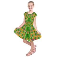 Jungle Love In Fantasy Landscape Of Freedom Peace Kids  Short Sleeve Dress by pepitasart