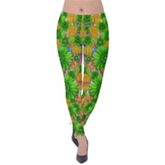 Jungle Love In Fantasy Landscape Of Freedom Peace Velvet Leggings by pepitasart