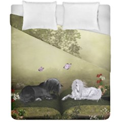 Wonderful Whte Unicorn With Black Horse Duvet Cover Double Side (california King Size) by FantasyWorld7
