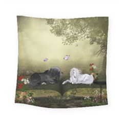 Wonderful Whte Unicorn With Black Horse Square Tapestry (small) by FantasyWorld7