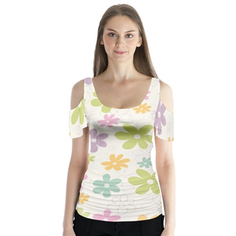 Beautiful Spring Flowers Background Butterfly Sleeve Cutout Tee  by TastefulDesigns