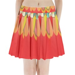 Colors On Red Pleated Mini Skirt by linceazul
