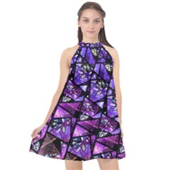 Blue Purple Shattered Glass Halter Neckline Chiffon Dress