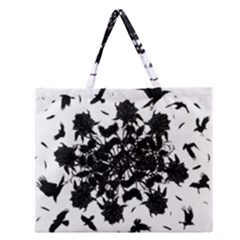 Black Roses And Ravens  Zipper Large Tote Bag by Valentinaart