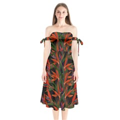 Bird Of Paradise Shoulder Tie Bardot Midi Dress by Valentinaart