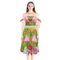 Flamingo Shoulder Tie Bardot Midi Dress by Valentinaart