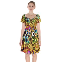 Colorful Circle Pattern Short Sleeve Bardot Dress