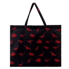Dinosaurs Pattern Zipper Large Tote Bag by ValentinaDesign