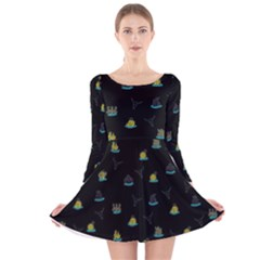 Cactus Pattern Long Sleeve Velvet Skater Dress by ValentinaDesign